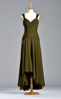 Sleeveless A-line Tea-length Dress with Dropping