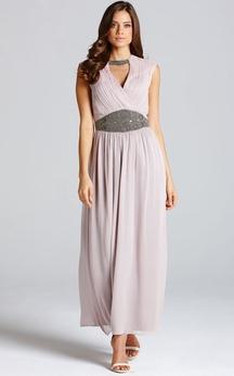 Chic Chiffon Long Dress With Front Keyhole