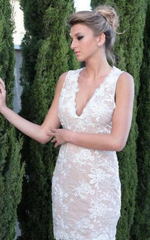 Sleeveless V-Neck Sheath Lace Short Dress With Low-V Back