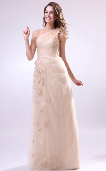 One-Shoulder Chiffon Pleated Dress With Flower and Tulle Overlay