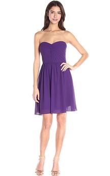 A-line Mini Chiffon Dress with Ruched Bodice