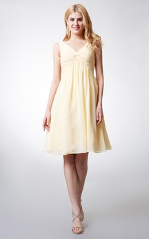 Knee-length V-Neckline Empire Ruched and Pleated Chiffon Bridesmaid Dress