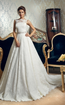 Floor-length A-line Sleeveless Bateau Lace Dress With Crystal Detailing&Long Train