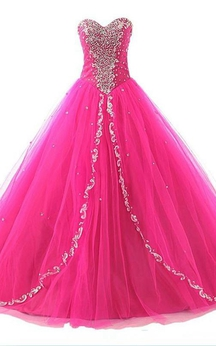 Ball Gown Long Sweetheart Sleeveless Bell Beading Appliques Lace-Up Back Tulle Lace Dress