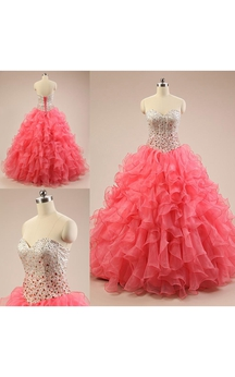 Long Sweetheart Beading Ruffles Lace-Up Back Lace Sequins Organza Dress