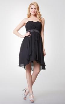 Sweetheart Empire Waist A-line Short Dress With Satin Belt