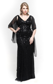 V Neck Straps Sheath Beaded Long Dress With Chiffon Cape