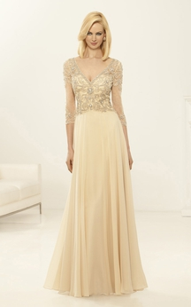 Sheath Floor-Length V-Neck 3-4-Sleeve Chiffon Beading Pleats Dress
