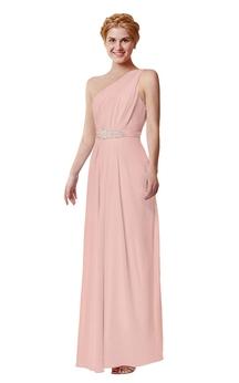 Long Beaded One-Shoulder Chiffon Dress