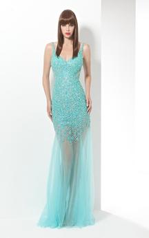 Sheath Floor-Length Spaghetti Sleeveless Tulle Beading Deep-V Back Dress