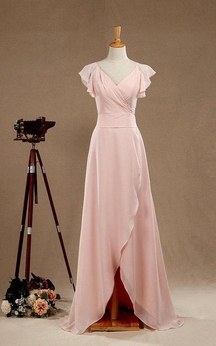 Cap Sleeve V-neck A-line Chiffon Long Dress With Split and Sash