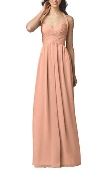 Halter Ruched Long Bridesmaid Dress