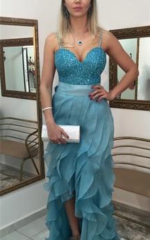 Sexy Sequins Hi-Lo Ruffles Prom Dress 2016 Spaghetti Strap Sweep Train