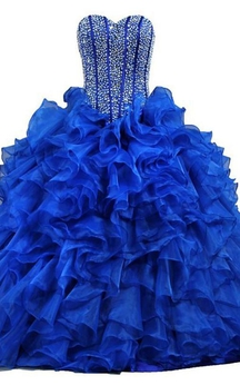Ball Gown Maxi Sweetheart Sleeveless Bell Beading Ruffles Corset Back Lace Sequins Organza Dress