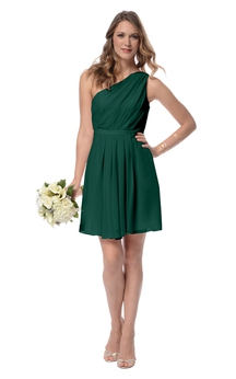 Chiffon Unique Short One-Shoulder Dress With Ruching