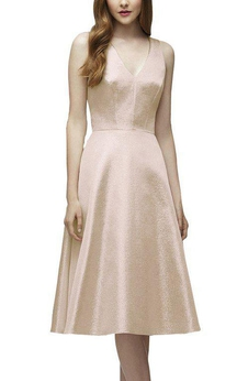 V-neck A-line Tea-length Bridesmaid Dress