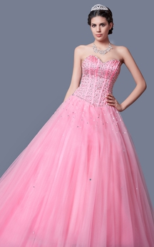 Long Strapless Tulle Prom Dress With Rhinestones Embellishement