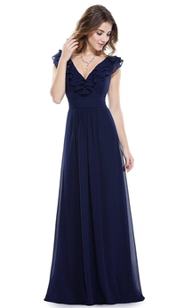 Cap-sleeved A-line Long Chiffon Dress with Ruffles