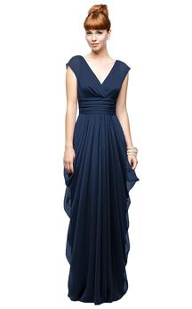 Long Chiffon Cap-Sleeved Enchanting V-Neck Dress