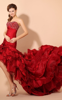 High-Low Taffeta Dress With Ruffled Train and Beaded Top