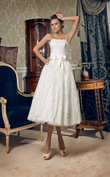 Tea-length Strapless Corset Back Lace Dress With Bow