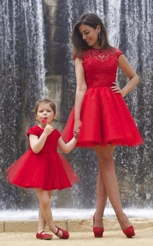 Lovely Red Lace Mother and Daughter Dress Tulle Short Cocktail Dress