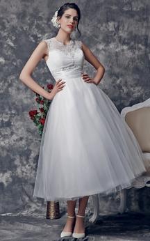 Stunning Beaded Illusion Neckline Tea Length Dress With Lace Embellished Back