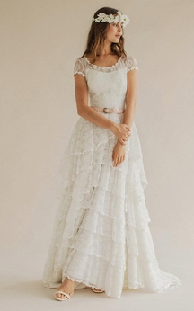 Scoop Neck Short Sleeve A-Line Lace Dress With Satin Sash