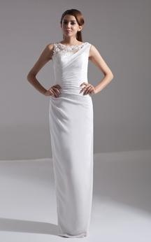 Sleeveless Chiffon Pencil Dress With Side-Draping