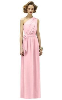 One-Shoulder Magnificent Dress With Bow Sash