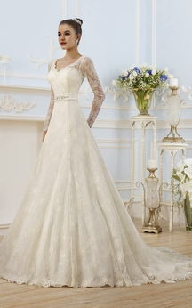 A-Line Floor-Length V-Neck Illusion-Sleeve Corset-Back Lace Dress With Appliques And Bow