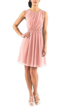 Sleeveless A-line Short Dress with Keyhole Back