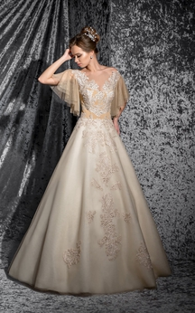 A-Line Floor-Length Bateau Poet-Sleeve Keyhole Organza Dress With Appliques