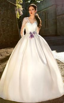 Ball Gown Long V-Neck T-Shirt-Sleeve Zipper Satin Dress With Bow