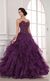 Sweetheart A-Line Ball Gown Dress With Organza Ruffles and Beading