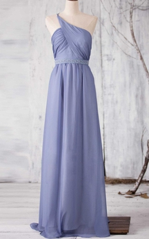 One Shoulder Criss Cross Bodice A-line Chiffon Long Dress With Beading