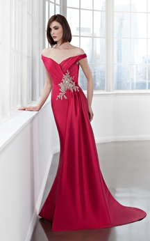 Sheath Long Off-The-Shoulder Satin Draping Beading Dress