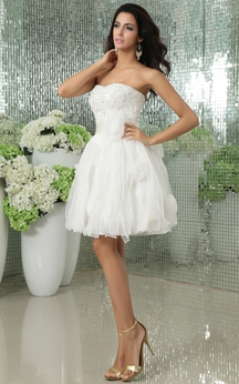 Sweetheart Short Dress With Satin Sash and Flowers