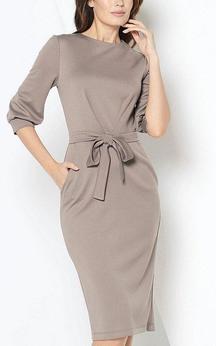 Bateau Neck 3-4 Puff Sleeve Sheath Jersey Short Dress With Sash