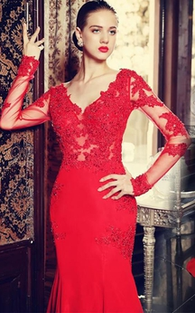 Sexy Red Long Sleeve Mermaid Prom Dress With Lace Appliques Sweep Train