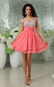 V-Neck Chiffon Backless Dress With Sequined Top