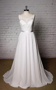 Sleeveless A-Line Chiffon Dress With Scoop Neckline and Satin Waistbelt