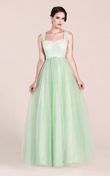 Sleeveless A-line Tulle Gown With Removable Straps