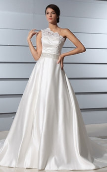 One-Shoulder A-Line Satin Dress With Lace Bodice and Chapel Train