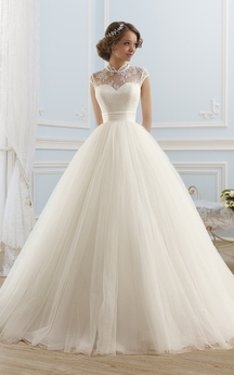 Ball Gown Maxi High-Neck Sleeveless Illusion Satin Dress With Lace