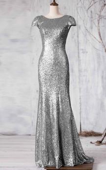 Bateau Cap Sleeve Allover Sequined Mermaid Long Dress Brush Train