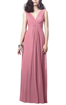 V Neck Ruched Long Chiffon Bridesmaid Dress