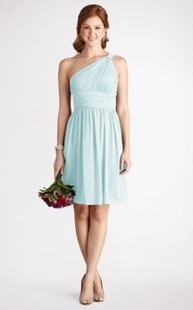 Chiffon A-Line Short One-Shoulder Strapless Dress
