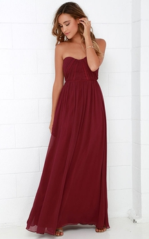 Strapless Chic Chiffon Long Dress With Ruching