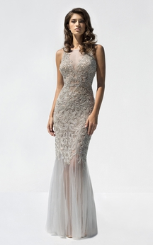 Sheath Floor-Length Bateau-Neck Sleeveless Tulle Crystal Detailing Ruffles Illusion Dress